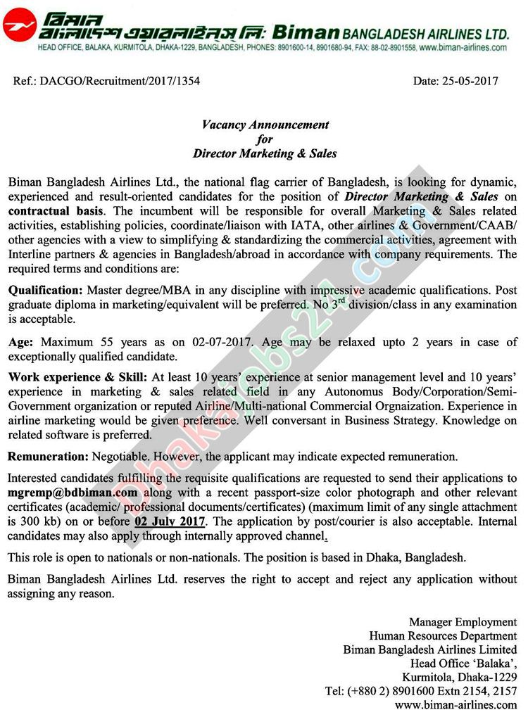 Biman Bangladesh Airlines Job Circular 2017 Airline jobs