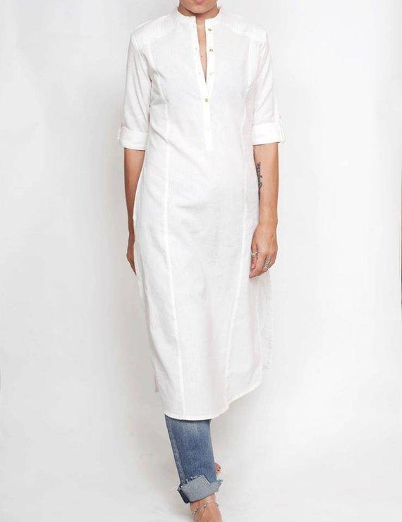 a4f8bae2f6363f Women's white shirt, linen shirt, white kurta, shirt dress, white blouse, long  shirt, cotton shirt,