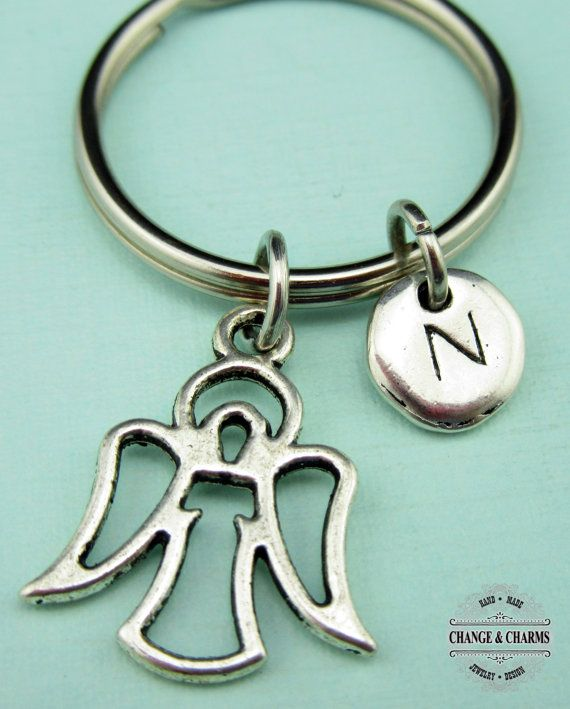 Tattoo Initials Mn: Angel Keychain, Angel Charm, Angel, Initial Charm, Silver