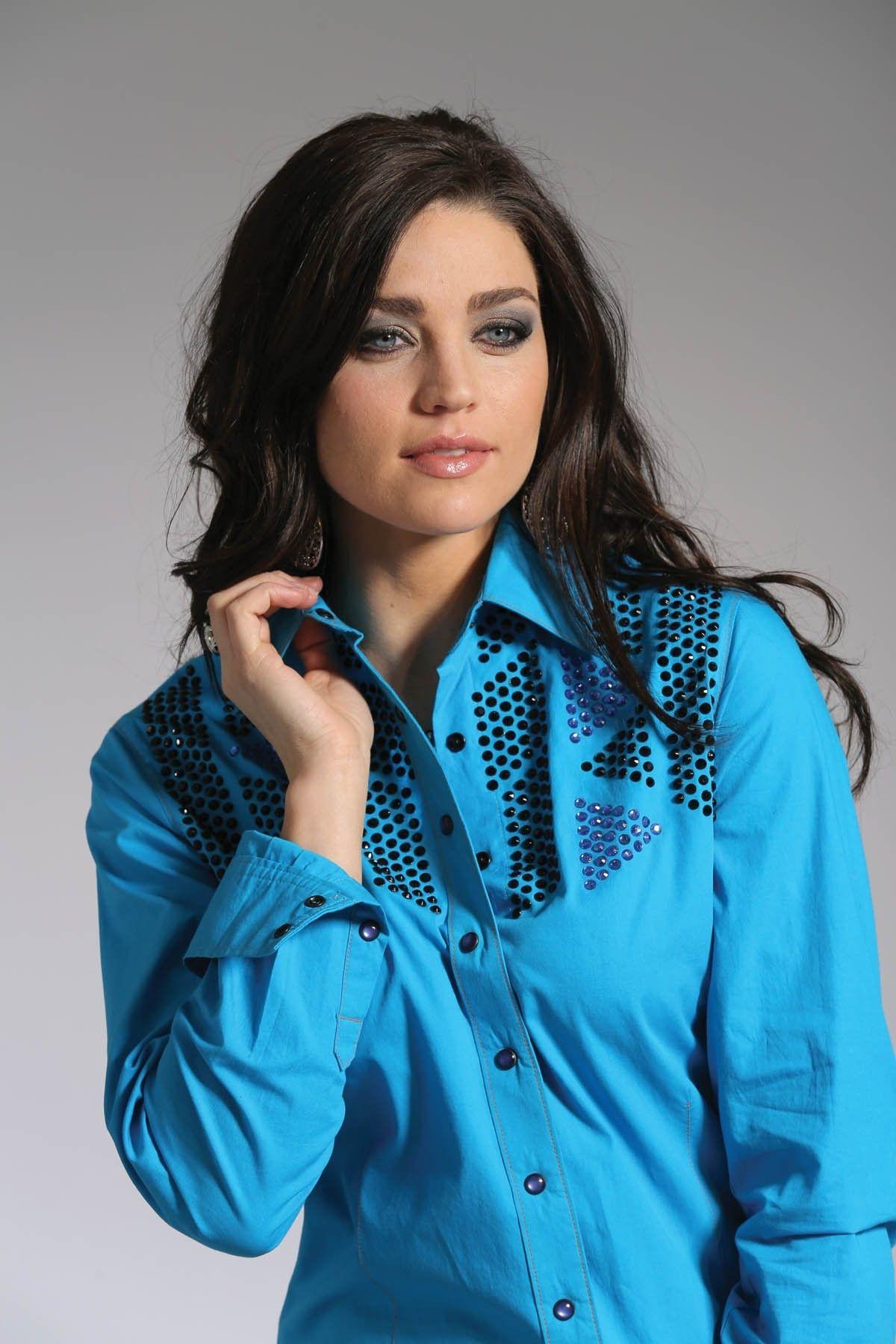 16af0d9b Cruel Girl® Ladies Western Shirt L/S Turquoise Geometric Yoke Design Snap