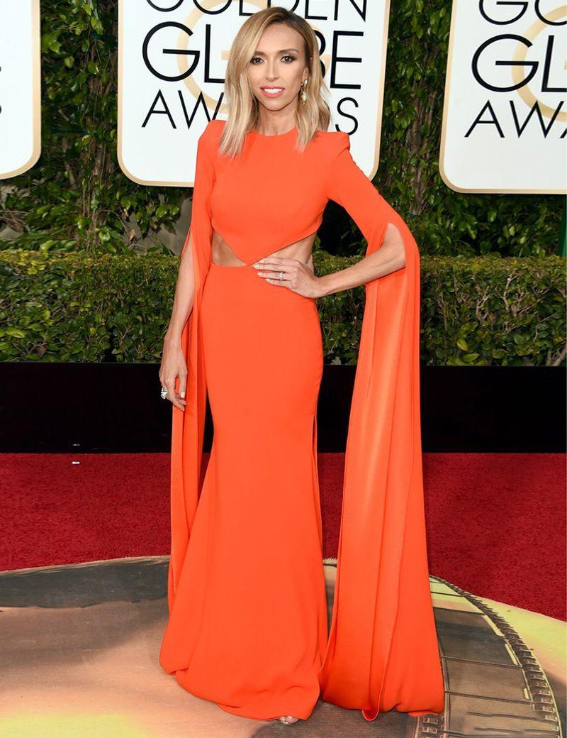 Orange long chiffon giuliana rancic mermaid celebrity dresses aline
