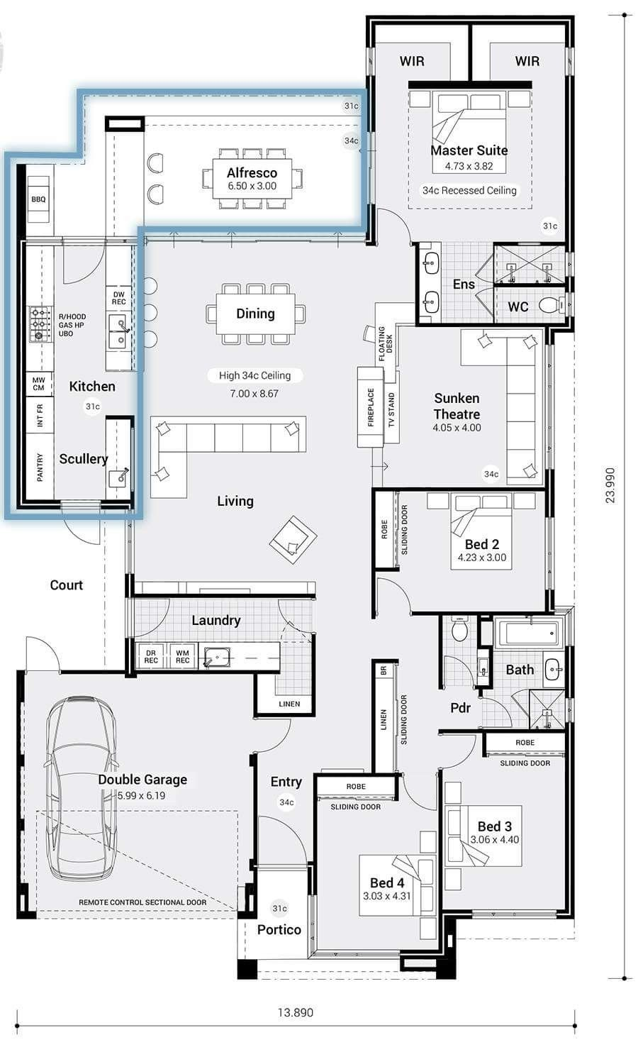 A Few Aspects Of This Are Fab His And Hers Wr Sunken Lounge Laundry Placement And Scull House Plans Australia Home Design Floor Plans Open Floor House Plans