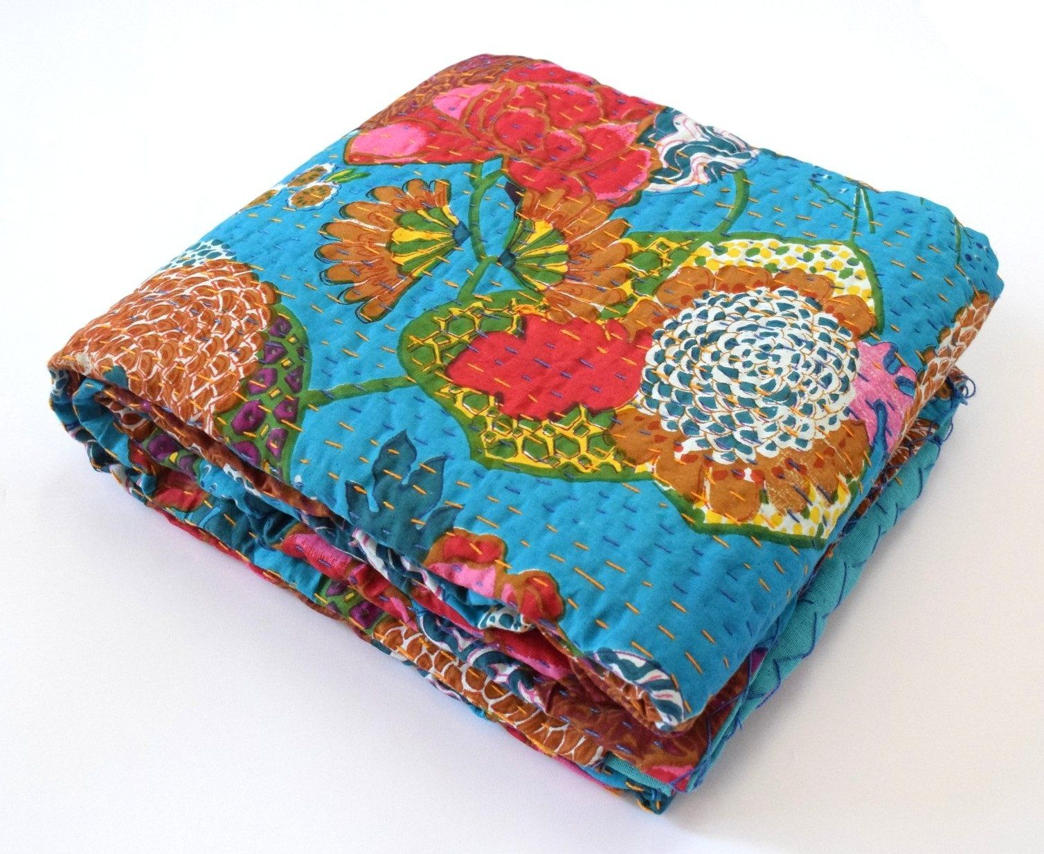 Kantha Tropicana Floral Bedspread Cotton Bedding Blanket Throw Handmade Quilts