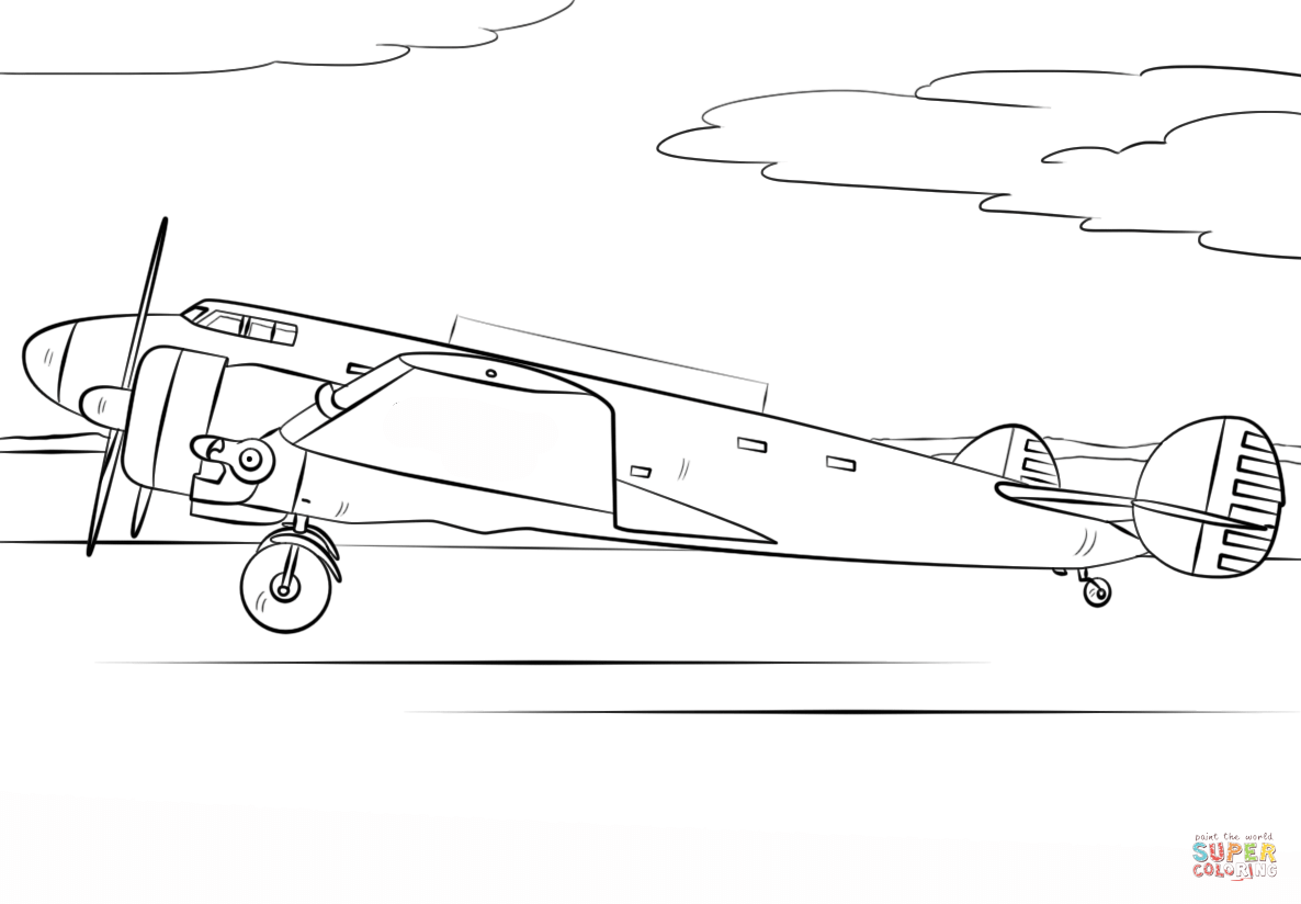 Amelia Earhart Airplane coloring page | Free Printable Coloring ...