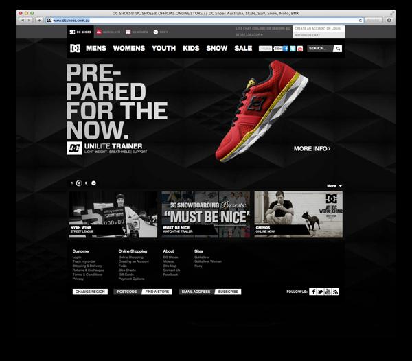 DC Shoes Australia Website Elements by Andrew Strack, via Behance