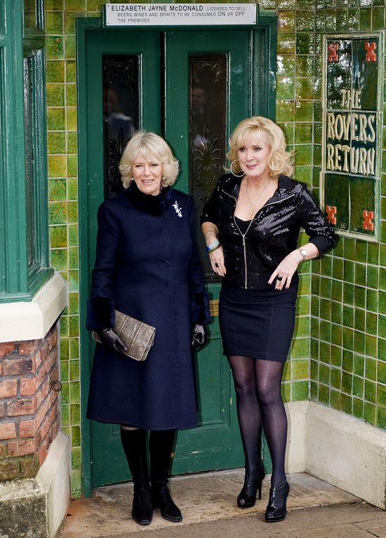 Camilla Parker Bowles(The Duchess Of Cornwall) and Beverley Callard(Liz McDonald) On The Set Of Coronation Street.