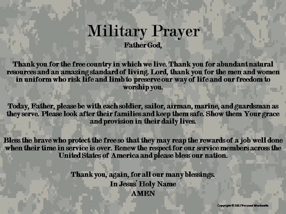 Armed Forces Prayer Print, Memorial Day Military Prayer