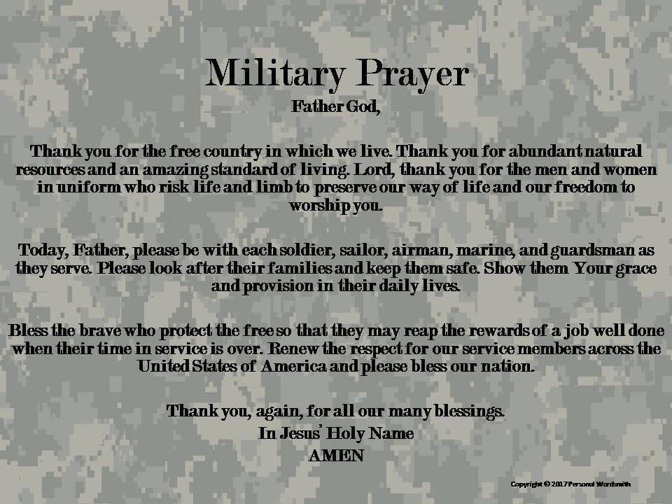 Armed forces prayer print memorial day military prayer