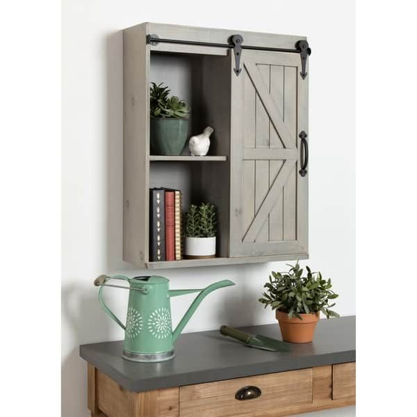 Kate And Laurel Cates Rustic Wood Wall Storage Cabinet: Kate And Laurel Wood Wall Storage Cabinet With Sliding