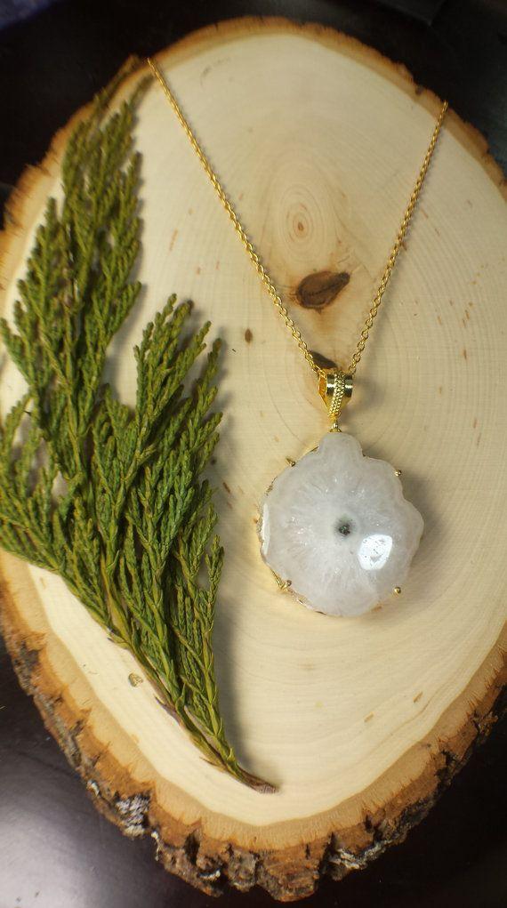Large White eye Solar Quartz Necklace Geode Slice by WildFernArt