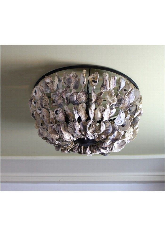 Oyster Shell Ceiling Mounted Flush Light Fixture Big Nautical Hand