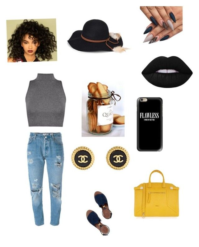 """💛"" by qveennnnnn on Polyvore featuring Levi's, Tory Burch, Furla, Chanel, Casetify, Steve Madden and Lime Crime"