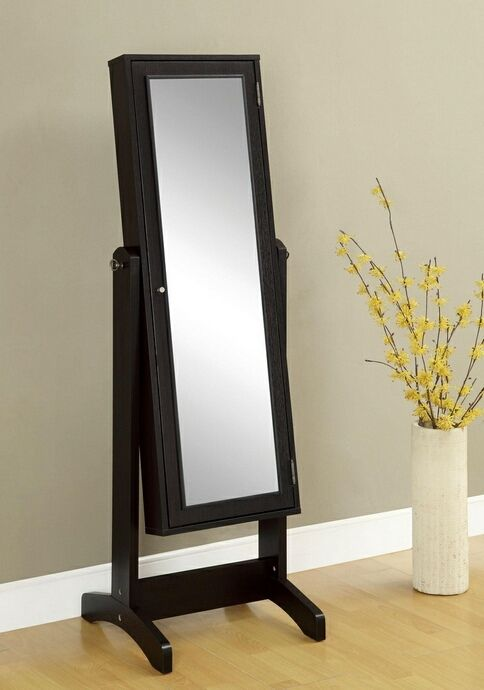 Espresso Finish Wood Free Standing Full Length Mirror With