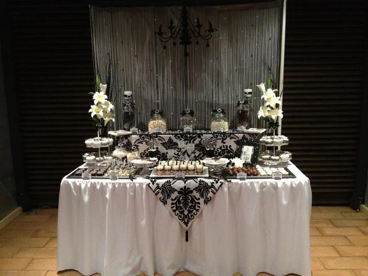Black and White Elegant 18th Birthday LollyDessert Buffet My