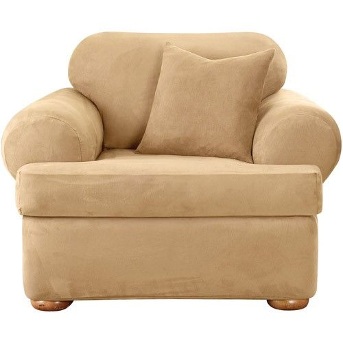 Sure Fit Stretch Suede 2 Piece T Cushion Chair Slipcover Beige