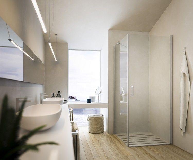 Rahmenlose Duschkabine im modernen Bad mit Parkettboden bad - parkett für badezimmer