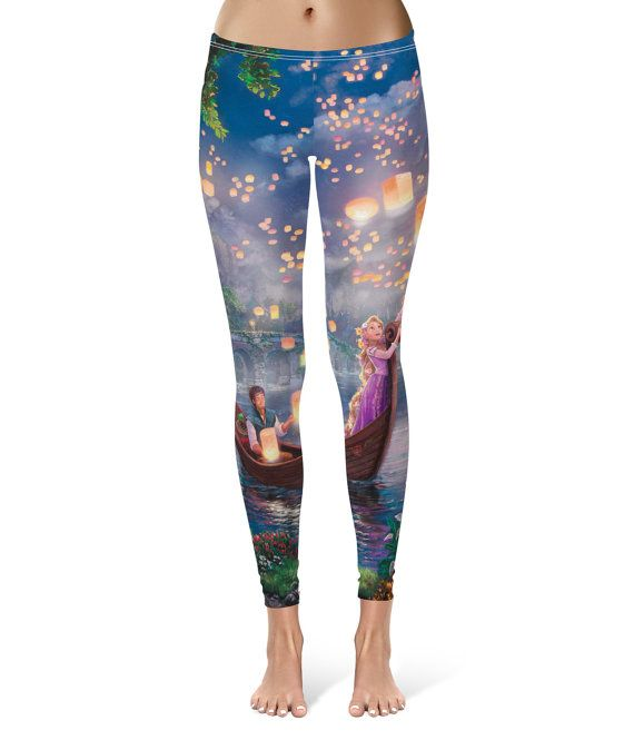 0efd7ececbf72e Tangled Disney Fine Art Painting Rapunzel - Leggings in XS-3XL - Sports or  Fleece Fabric Leggins - Yoga, Gym, Thick Winter Gym Yoga 000629