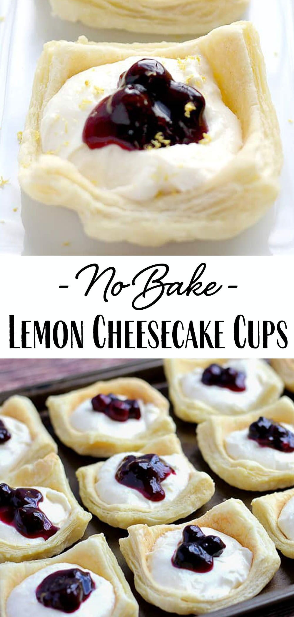 No-Bake Lemon Cheesecake Cups with Blueberry Sauce