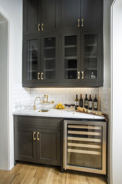 Black Wet Bar Wine Fridge White Subway Tile Backsplash B