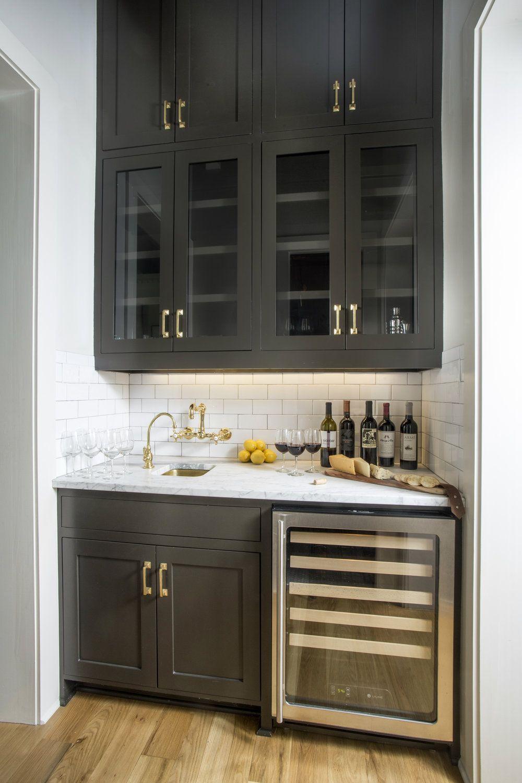 Black Wet Bar Wine Fridge White Subway Tile Backsplash Black Cabinets With Brass Hardware Gold Hardware Aged Bra Kitchen Wet Bar Home Wet Bar Wet Bar