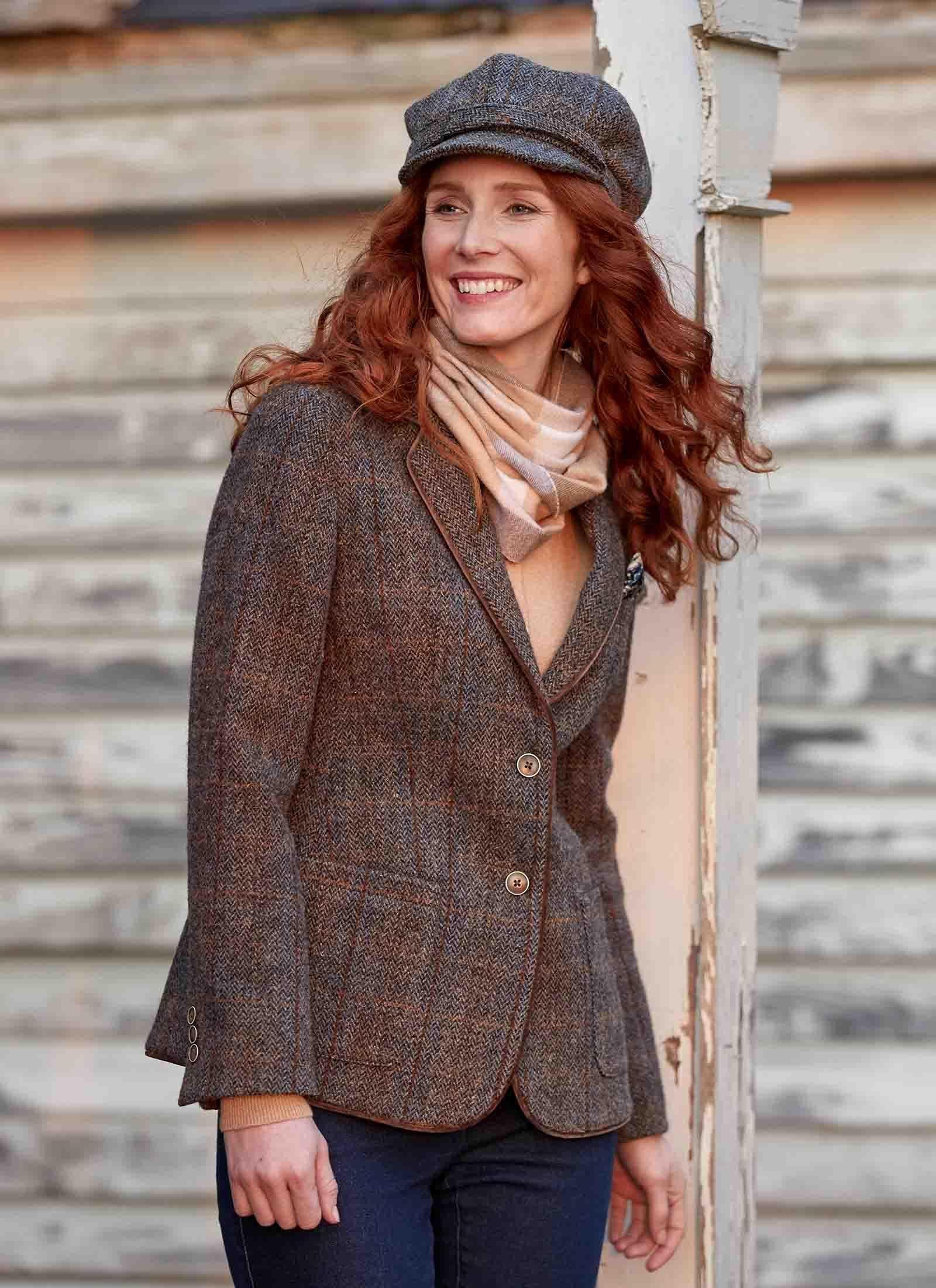 Female harris tweed ladies harris tweed jacket short ewm
