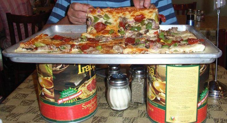 Sheet pan pizza. Love the trivet