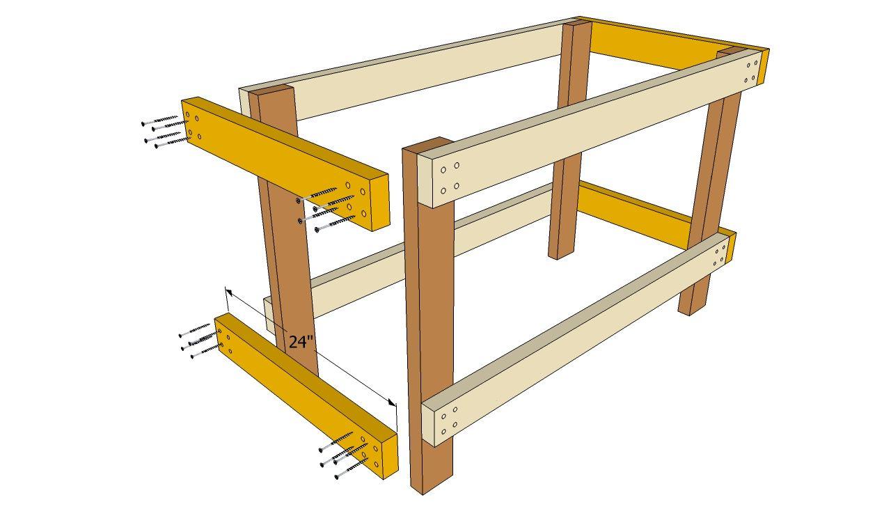 Installing the workbench stretchers Workbench plans diy