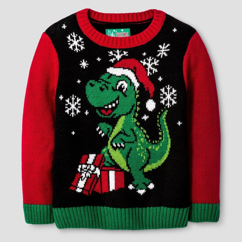 ugly christmas sweater toddler boys dinosaur sweater