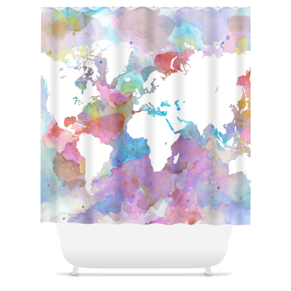 Design 48 Shower Curtains Showercurtain Worldmap Curtains