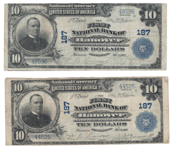 Here are two Hanover notes that are about 4,000 serial numbers apart. Both are evenly circulated VFs.