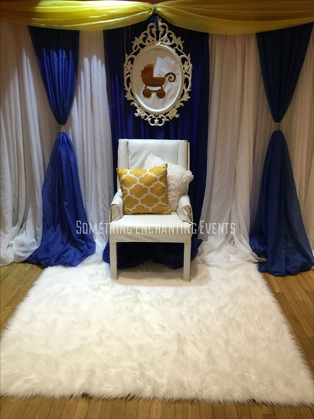Royal Thrown Area For Mom To Be Beautiful Draped Backdrop