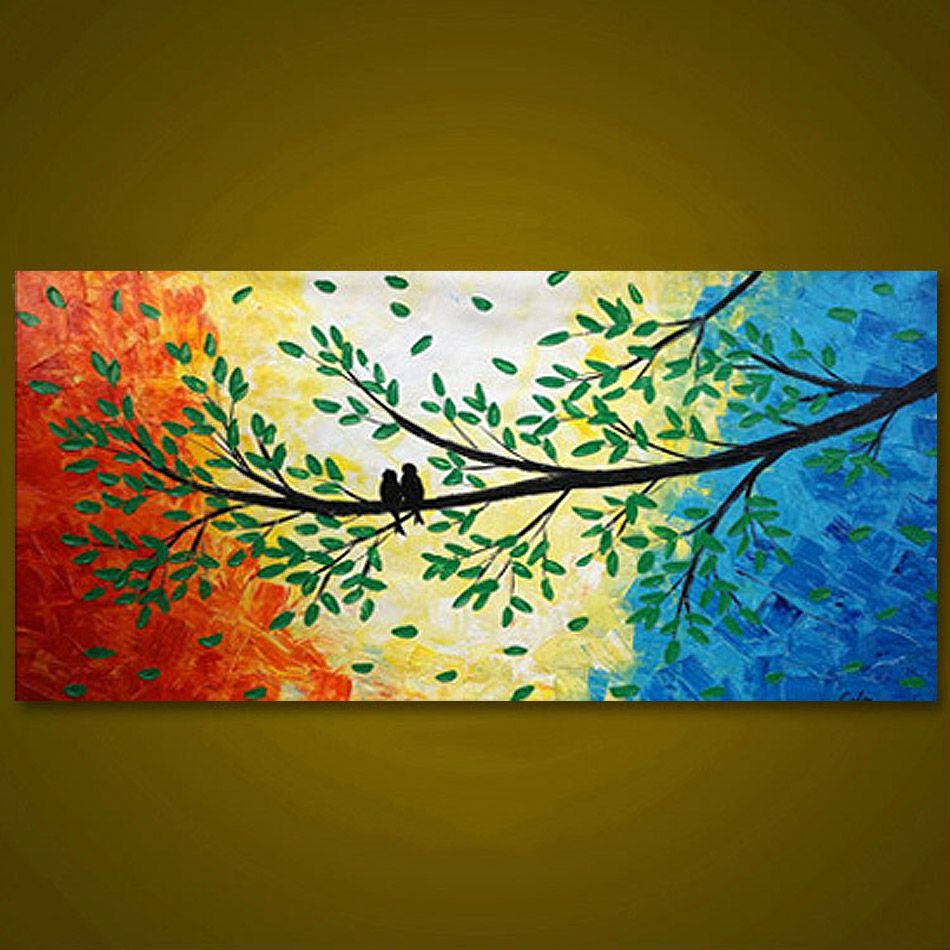 Unframed Panel Colorful Tree Birds Modern Hand Painted Oil Painting ...