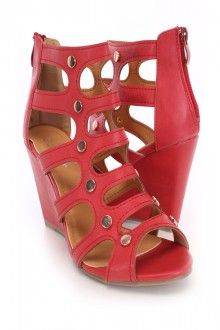 Red Studded Single Sole Wedges Faux Leather