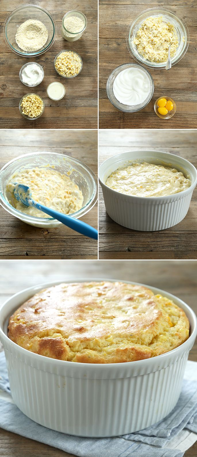 Easy Gluten Free Sweet Corn Spoon Bread, Step by Step. Everyone's favorite side dish!