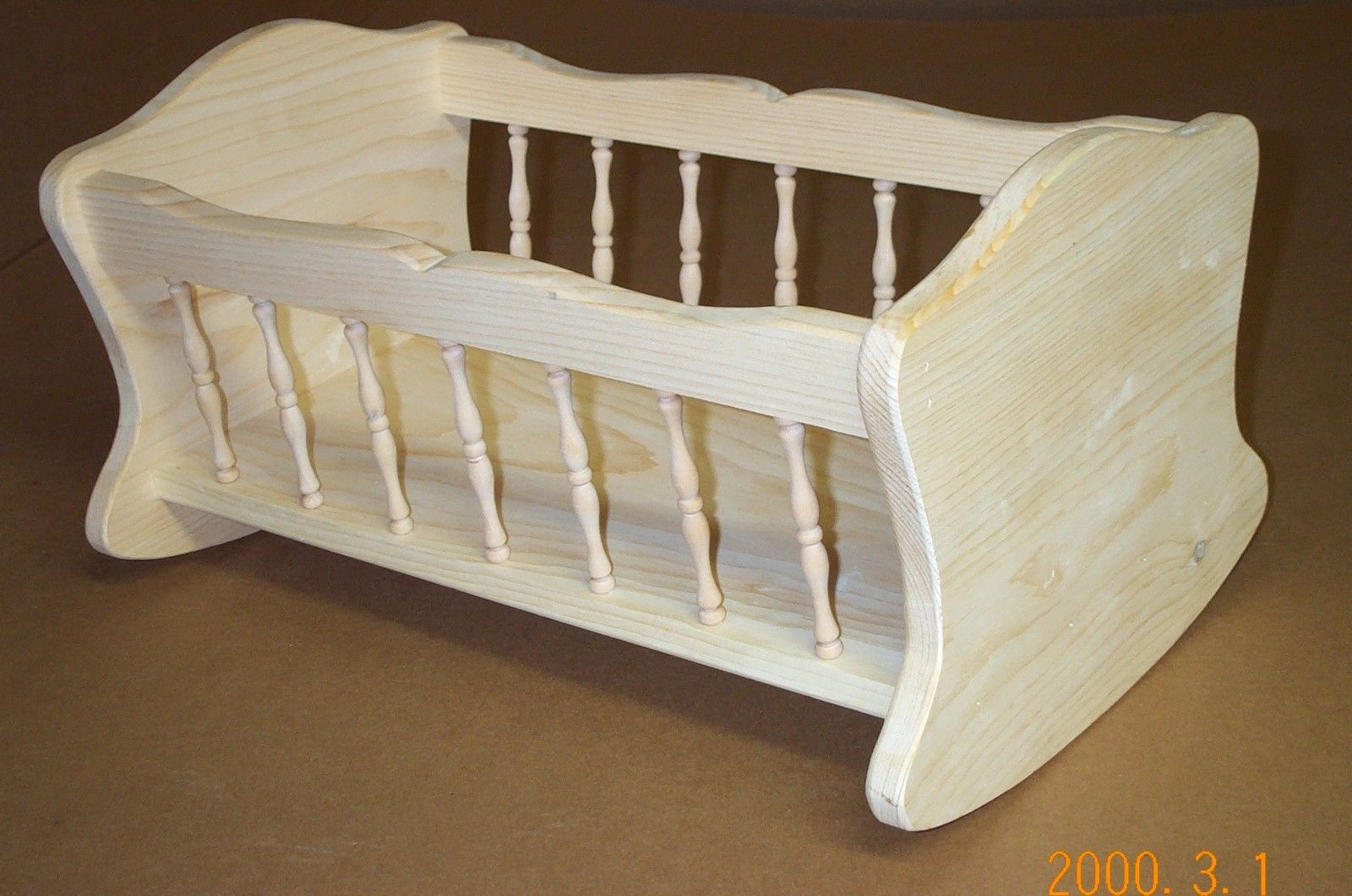 Spindle Doll Cradle Unfinished Pine Wood Rocking Baby Doll Crib Hand Made  In USA | EBay