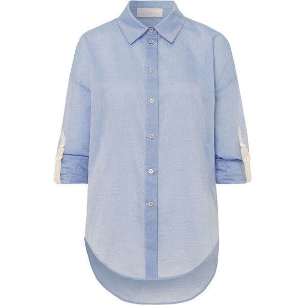 Marina Hoermanseder     The Collared Boy blouse (940 SAR) ❤ liked on Polyvore featuring tops, blouses, light blue, loose fit tops, loose cotton tops, light blue top, blue blouse and loose tops