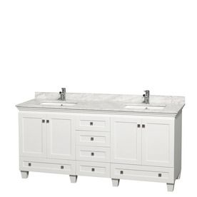 Wyndham Collection Acclaim White 72-In Undermount Double Sink Oak Bathroom Vanity With Natural Marble Top Wcv800072dwhcm
