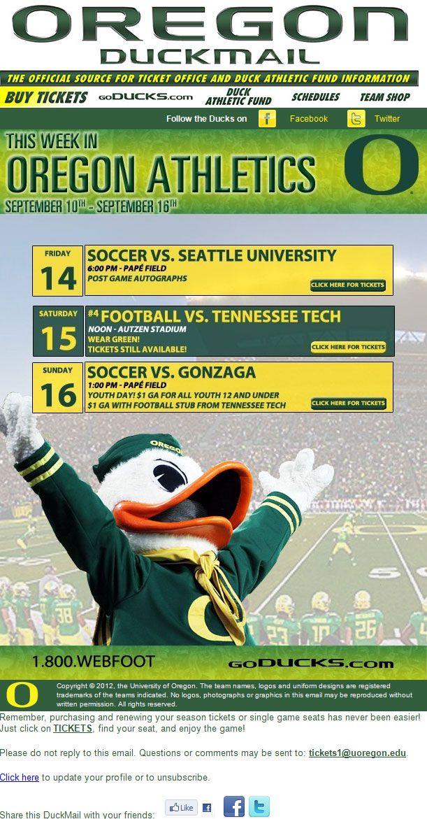 University Of Oregon Weekly Ticket Sales College Athletics Seattle University University Of Oregon