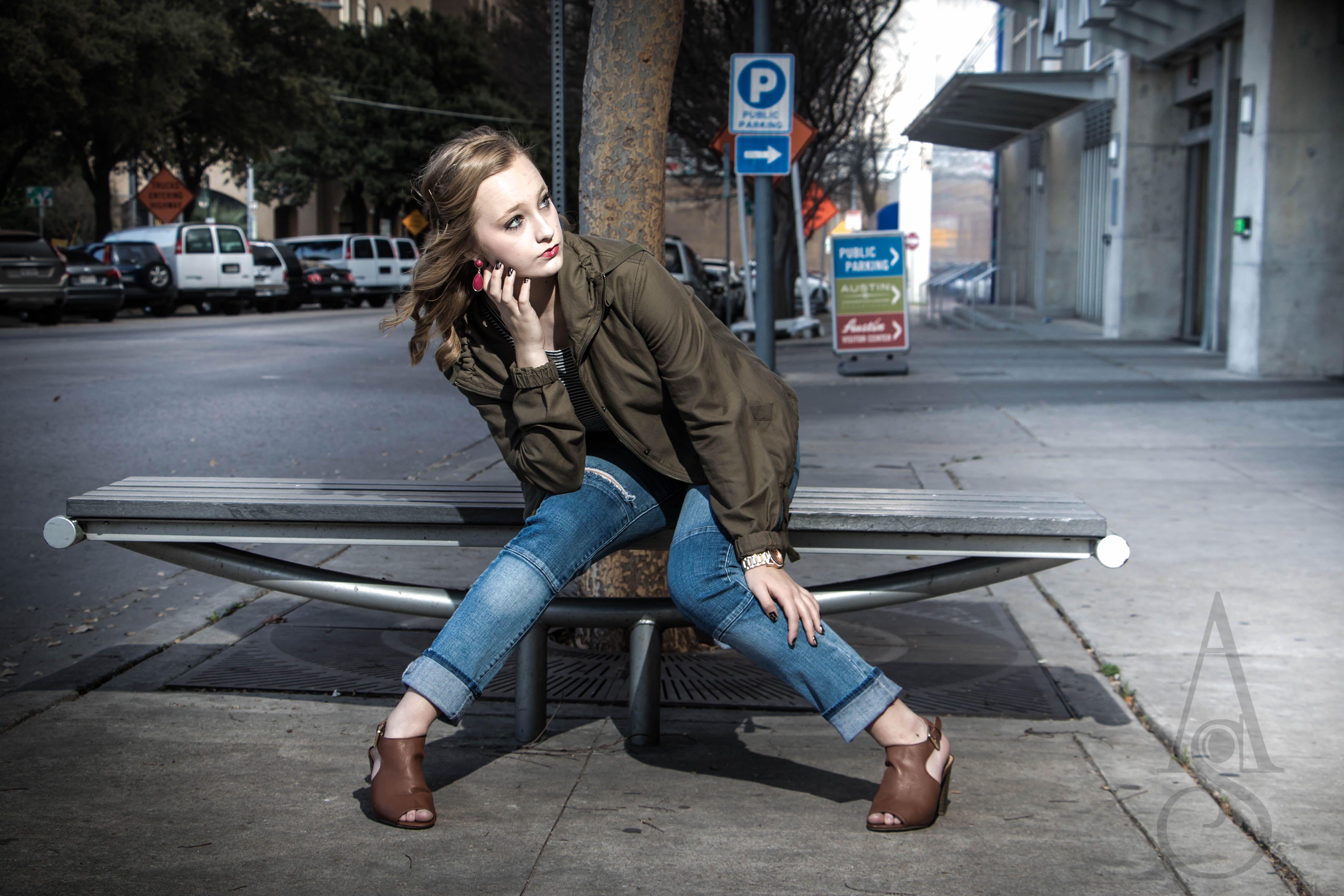 Senior Portrait #admyerstudios #senior #photography #atx #downtown #5thst #armyjacket #denim #model #modern #city @abigailillian  www.admyerstudios.squarespace.com