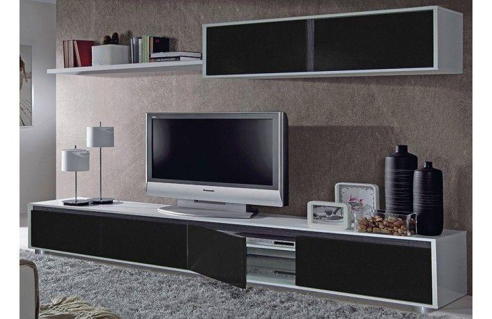 Salón blanco y negro de melamina estilo minimalista | muebles TV ...