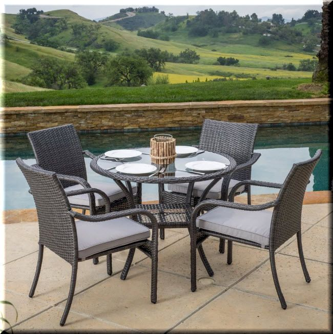 Patio Dining Set 5 Piece Round Table Chairs Metal Resin Wicker Garden  Furniture | EBay