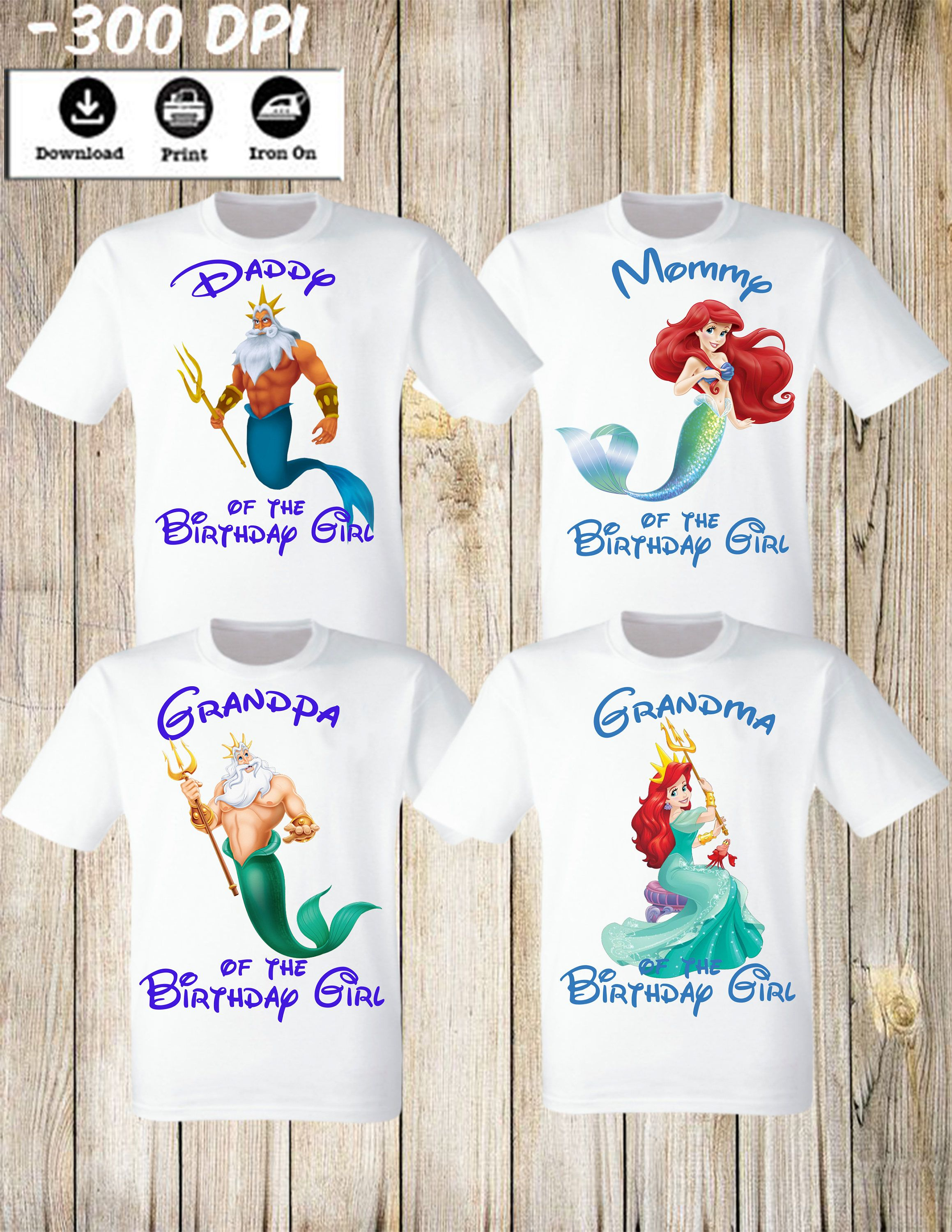 Little Mermaid Ariel Girl Birthday Party Shirt Personalized Family Set Of 4 Iron Transfers Mommy Daddy Grandpa Grandma By