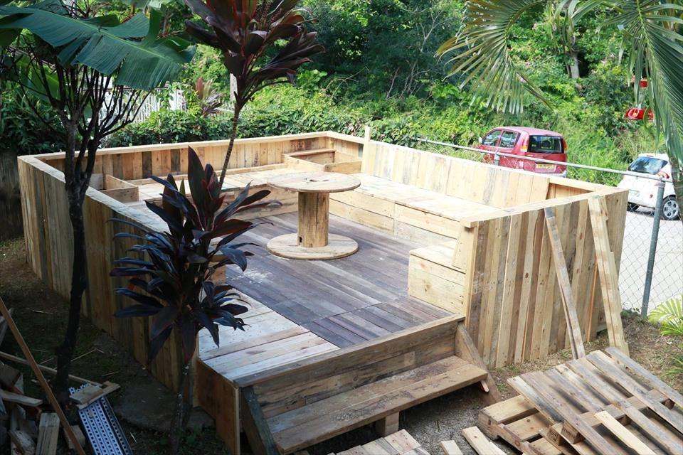 Upcycled Pallet Terrace - 101 Pallet Ideas | pallet diy | Pinterest ...