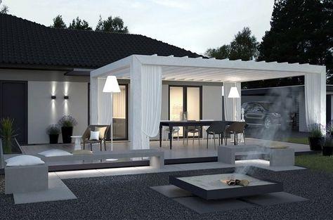 moderne pergola mit drehbaren lamellen und gardinen gartenbank pinterest moderne pergola. Black Bedroom Furniture Sets. Home Design Ideas