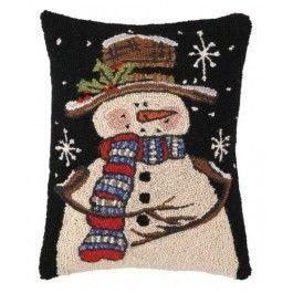 Artist Lisa Hilliker Vermont Folk Artist Throw Pillows Christmas Winter Pillows Snowman Pillow