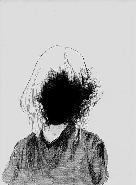 Imagen de girl art and black canvas creations - Dessin sombre ...