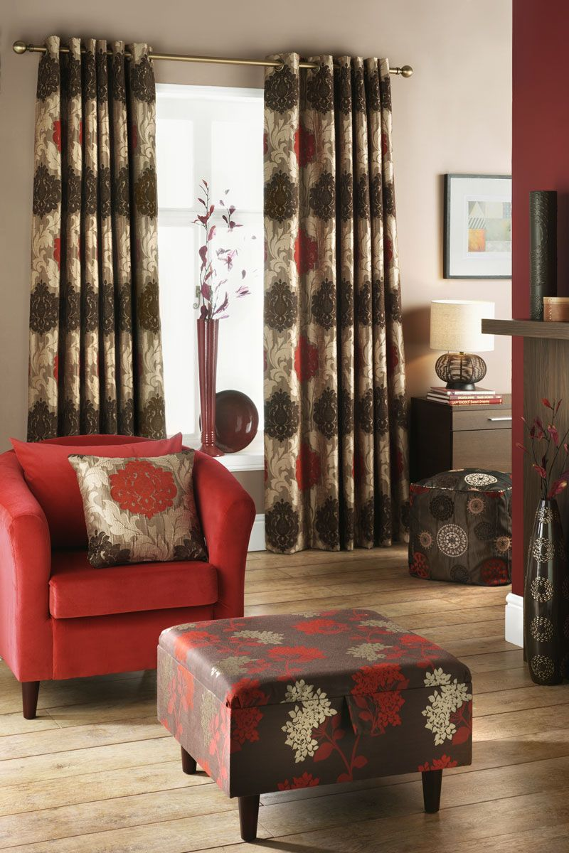 Beautiful living room curtains living room living room the curtains as one of the most for Red and cream curtains for living room