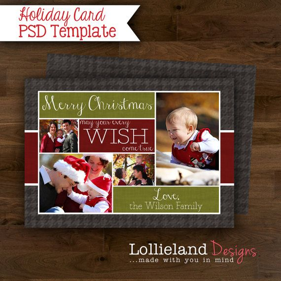 Instant Download Christmas Card Photoshop Template 4 By Lollieland 7 00 Christmas Card Photoshop Christmas Cards Holiday Cards