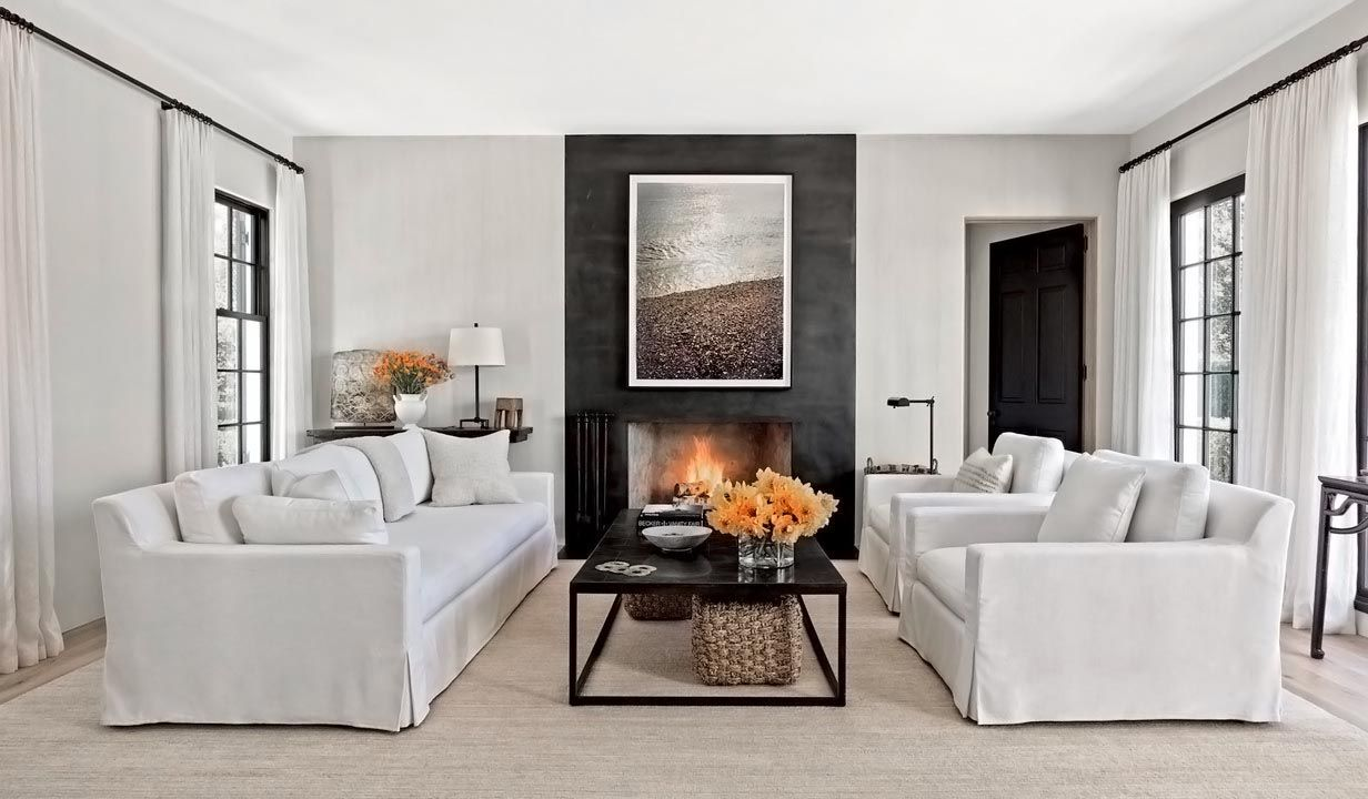 Beautiful Restoration Hardware Inspired Transitional Living Room Decor With Slipcovered Sofa Transitional Decor Living Room Transitional Living Rooms Fireplace