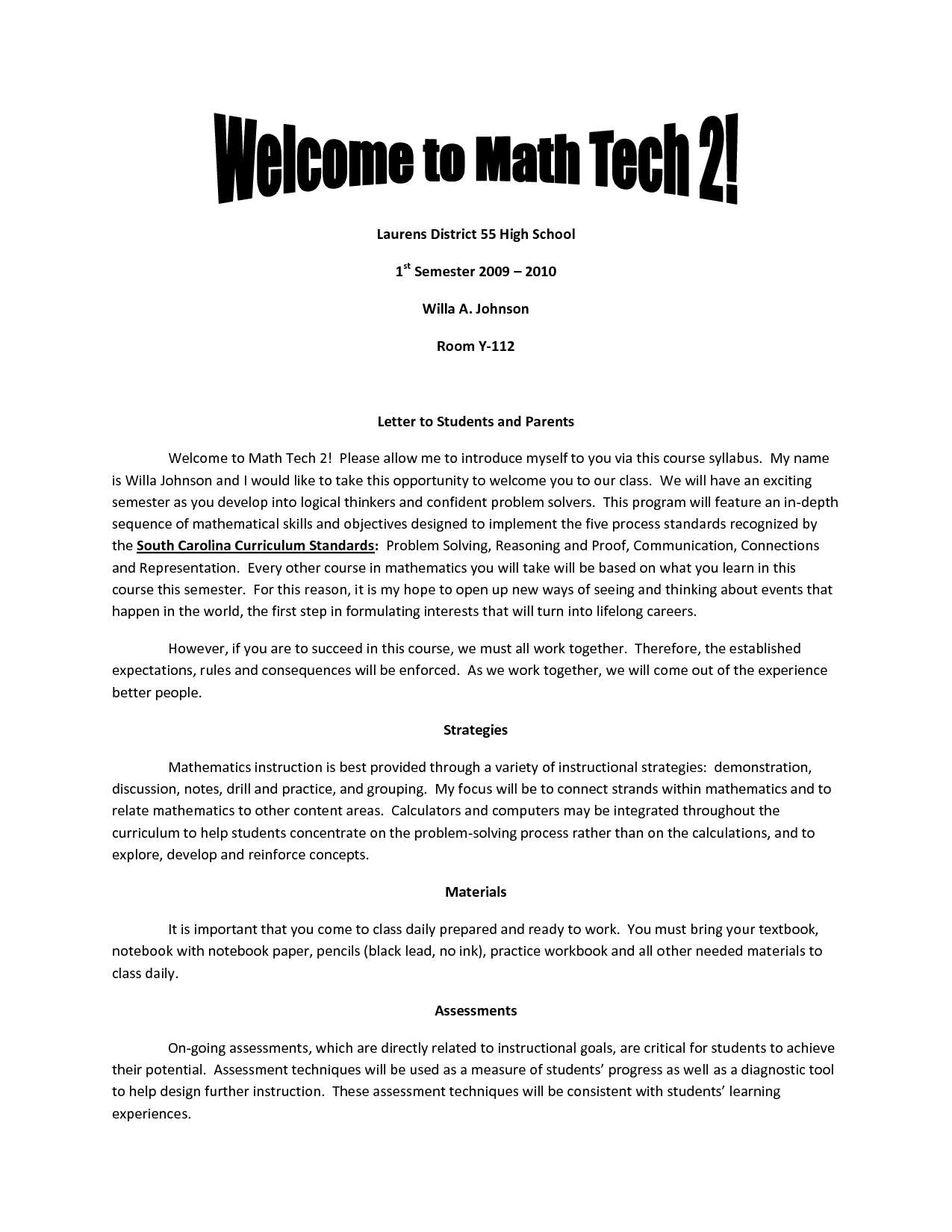 teacher introduction letter for high school